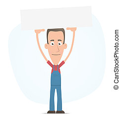 Mechanic holds over a banner - Illustration of a cartoon...