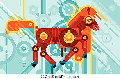 Mechanic Horse Abstract Concept