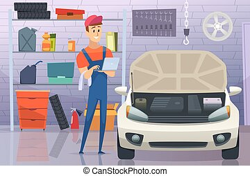Mechanic in garage. Auto service man fixing repairing vehicle vector cartoon background