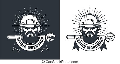 Mechanic in hardhat and wrench - retro emblem