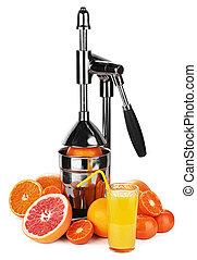 Mechanic juicer for citrus fruits isolated on white