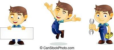 Mechanic jump mascot vector art