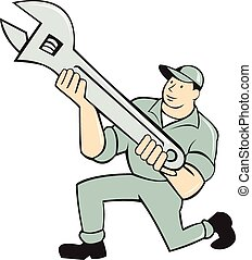 Mechanic Kneeling Holding Spanner Wrench Cartoon -...