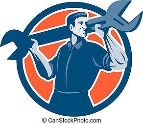 Mechanic Lifting Spanner Wrench Circle Retro - Illustration...