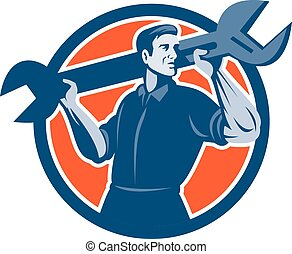 Mechanic Lifting Spanner Wrench Circle Retro - Illustration...