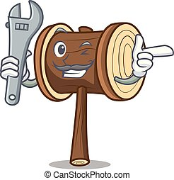 Mechanic mallet mascot cartoon style