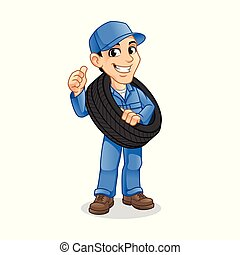 Mechanic Man Carrying The Tire with a Thumbs Up Hand in The Other Hand