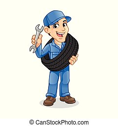 Mechanic Man Carrying The Tire with Holding a Wrench in The Other Hand