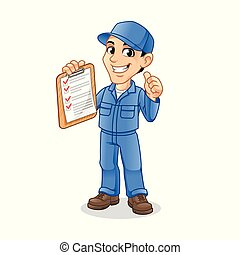 Mechanic Man Holding Clipboard with Thumbs Up Hand in The Other Hand