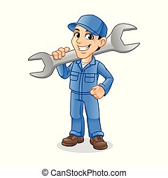 Mechanic Man Holding Huge Wrench