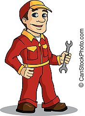 Mechanic or service man with spanner in cartoon style