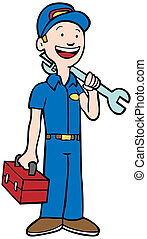 Mechanic Man - Repairman in uniform holding a toolbox and...