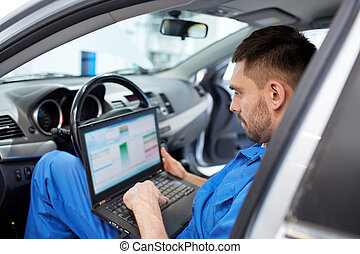 mechanic man with laptop making car diagnostic - car service...