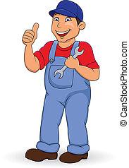 Mechanic man with thumb up