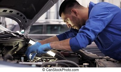 mechanic man with wrench repairing car at workshop 3 - car...