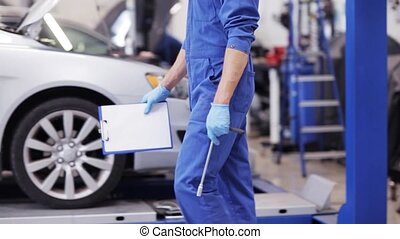 mechanic man with wrench repairing car at workshop