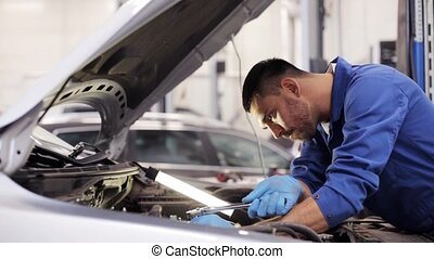mechanic man with wrench repairing car at workshop 10