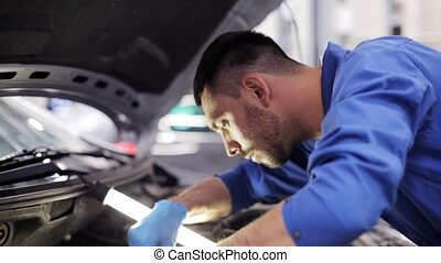 mechanic man with wrench repairing car at workshop 2 - car...