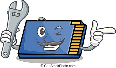 Mechanic memory card mascot cartoon