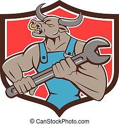 Mechanic Minotaur Bull Spanner Shield Cartoon