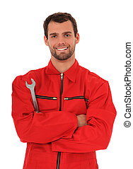 Mechanic - Motivated mechanic. All on white background.