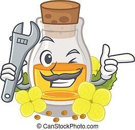 Mechanic mustard oil in the cartoon shape