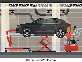 Mechanic near car on lifting platform