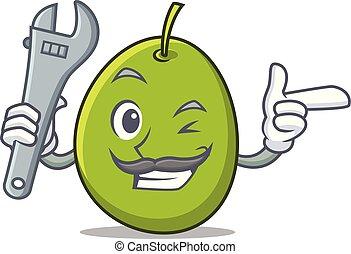 Mechanic olive mascot cartoon style