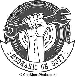 on duty - Mechanic on duty vector logo template.
