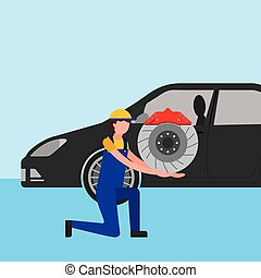 mechanic on the knee with brake disc auto part