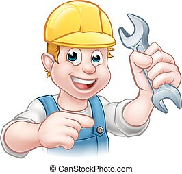 Mechanic or Plumber Cartoon Character