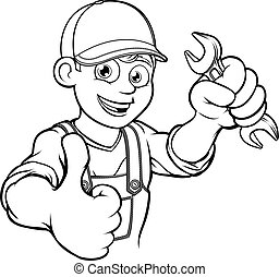 Mechanic or Plumber Handyman With Spanner Cartoon