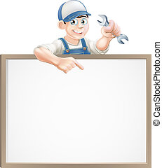 Mechanic or plumber sign - A plumber or mechanic holding a ...