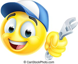 Mechanic or Plumber Spanner Emoticon Emoji Icon