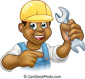 Mechanic or Plumber With Spanner Cartoon