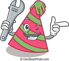 Mechanic party hat mascot cartoon vector illustration