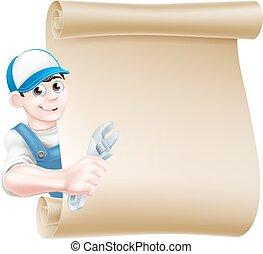 Mechanic Plumber Man Cartoon