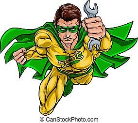 Mechanic Plumber Superhero Holding Wrench Spanner