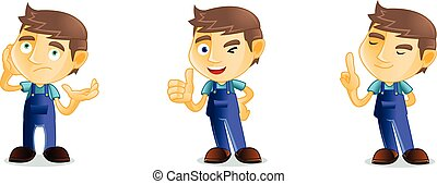 Mechanic pose happy mascot vector art