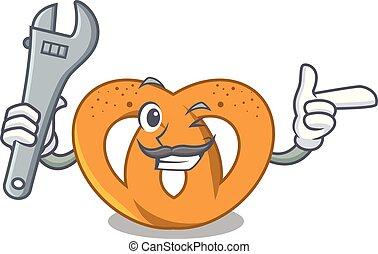 Mechanic pretzel mascot cartoon style