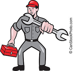 Mechanic Punching With Spanner Cartoon