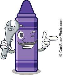 Mechanic purple crayon in a mascot bag