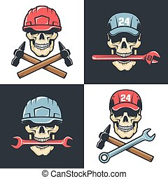 Mechanic Repair service vintage logo - skull with tools. ...