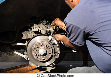 Mechanic repairing brake disk and detail of the wheel