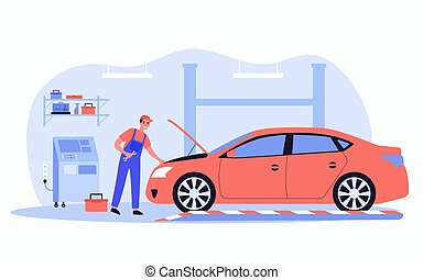 Mechanic repairing car in garage
