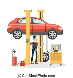 Mechanic repairing car.