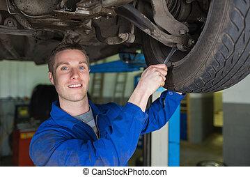 Mechanic repairing car with spanner