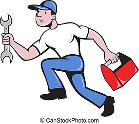 illustration of a mechanic repairman worker with spanner and toolbox running viewed from side done in cartoon style on isolated background