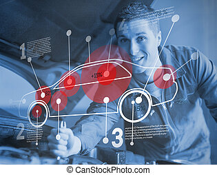 Mechanic reparing car while consulting futuristic interface...