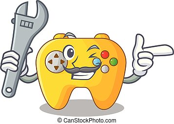 Mechanic retro computer game control on mascot